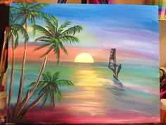 Beautiful acrylic painting on an 11x14 canvas signed and dated by artist. This painting is inspired by our families love for windsurfing. Im a Florida girl always inspired by beautiful beaches, sunsets, and amazing colors in nature. **Free Shipping within the United States** See more of Salted Vinegar Studios HERE: https://www.SaltedVinegarStudios.etsy.com