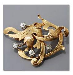 Art Nouveau diamond & gold brooch.