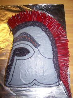 Spartan helmet cake.