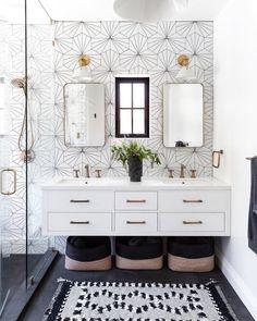 Bathroom Lighting Design, Bathroom Interior Design, Modern Bathtub, Miller Homes, Black Tiles, White Vanity, Bathroom Trends, Bathroom Ideas, Black Floor
