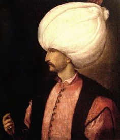 Rare painting of the Italian painter Tiziano Vecellio showing the Ottoman Turkish Sultan Suleiman the Magnificent, renowned for the magnificence of his dress. 16th century