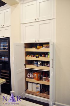 Pantry with Pull-Out Drawers. #NarKitchens, #ColumbiaCabinets