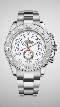 The Rolex Yacht-Master II in 18ct white gold is the only version to feature a bezel in solid 950 platinum with raised numerals.