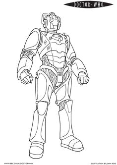 Cyberman official BBC Doctor Who coloring page
