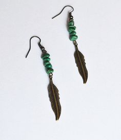 Tribal Feather Earrings Bohemian Turquoise Chip by LOVEnLAVISH