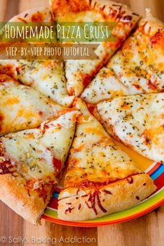 How to make Homemade Pizza Crust. A step-by-step photo tutorial by sallysbakingaddiction.com