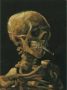 "Vincent van Gogh  Painting, Oil on Canvas  Antwerp: Winter, 1885 - 86  Van Gogh Museum  Amsterdam.   ""Skull with Burning Cigarette"""