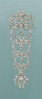 A late 18th century diamond bodice ornament mounted as a brooch, circa 1790, probably Portuguese