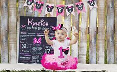 Pink Minnie Mouse Birthday Chalkboard First by PearlPearDesigns