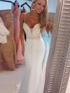 Long White Beaded Spaghetti Straps Mermaid Sequin Prom Dresses 9d3143430569