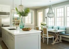 Benjamin Moore Paint Color: Stonington Gray HC-170 Love the modern kitchen with a beach vibe.