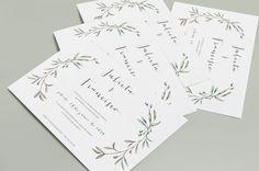 Invitacion de bodas con olivos en acuarelas y sobre forrado