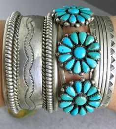 WIDE OLD PAWN TURQUOISE SILVER ROW CUFF