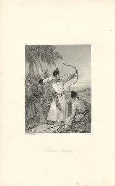 """""""Persian Archers,"""" an 1841 engraving from The Book of Archery.  Available at http://www.uncannyartist.com/products/1841-prints-archery."""