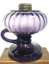 Amethyst/Purple Pedestal Oil Lamp Scallop & Fish Scale Pressed Glass ca. 1890's