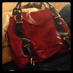 Red over the shoulder bag Lipstick red with chocolate brown detail! Teal interior! Used once for NYE Bags Shoulder Bags