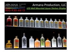 LED Wall Mounted Liquor Shelves Display by Armana Production. Our - LED Lighted Wall Mounted Liquor Shelves Bottle Display with Glossy black finish + Wireless Remote Control are perfect for your bars, clubs and restaurant Bar Shelves, Wall Mounted Shelves, Display Shelves, Liquor Shelves, Display Wall, Wall Bar Shelf, Liquor Storage, Shelving Ideas, Diy Home Bar