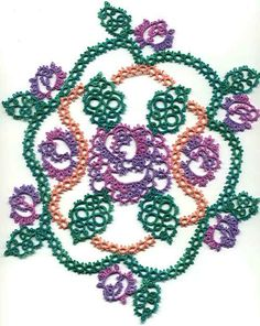 Mark's Doily - round 3 The Vines Load two shuttles with peach-colored thread. CTM. Join shuttle threads to first picot of second to the top chain of the leaf. These are done as SR: 3-3-3/3-3-3-3. The top and bottom vines show the 3p part of the SR facing outward. The side vines are as thus: Make 5 SR with 3p out, then 8 SR with 3p in, joining inward SR#4&5 to middle p of adjacent chains of side sections of rose center.