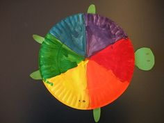 Color Wheel Turtle- Kindergarten:  Students learned about the color wheel, rainbow order and Roy G. Biv. Next, they painted a turtle shell in rainbow order to create a color wheel. They cut out a head, 4 legs and a tail to turn their color wheel into a turtle.