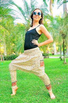 df952c1b4e Hula hoop pants, Harem pants, Boho pants, Hippie pants, Yoga pants,  Amonchai. Batik, Cream w Red, Blue&Gold Print Details