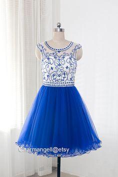 gorgeous round neck short tulle prom dress ,evening dress, formal dress - 134.99$ #prom #promdress @etsy