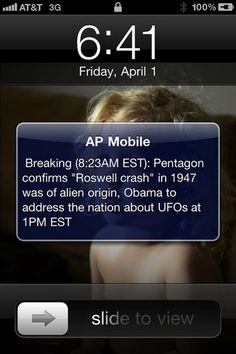 """A husband played a prank on his wife. She had the """"AP Mobile"""" news app on her phone and receives text message alerts whenever something big is happening around the world. He changed his name in her contact list to """"AP Mobile"""" and sent her this message. : )"""