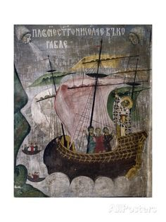 size: Giclee Print: Romania, Sucevita Monastery Depicting St Nicholas' Ship in Storm, Detail from Life of St Nicholas : Saint Nicholas, Orthodox Icons, Romania, Framed Artwork, Find Art, Giclee Print, Medieval, Saints, Detail