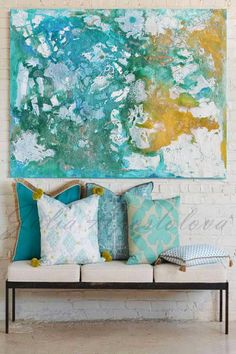 50inch, Turquoise Wall Art, Abstract Painting, Art Print, Watercolor, Turquoise…