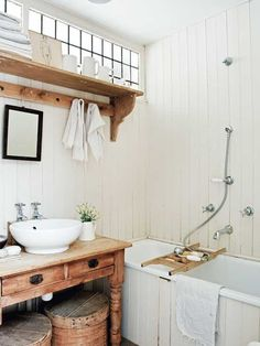 white and rustic bathroom