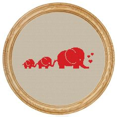 Cross Stitch Pattern PDF elephants family di HappyStitches4You
