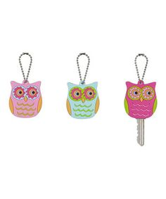 Keep track of keys with this adorable cover-a-key set. Made of durable vinyl with charming owl-inspired designs, they make it easy to tell which key's which.