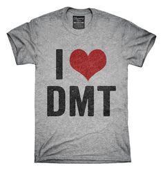 You can order this I Love DMT Heart Funny DMT t-shirt design on several different sizes, colors, and styles of shirts including short sleeve shirts, hoodies, and tank tops.  Each shirt is digitally printed when ordered, and shipped from Northern California.