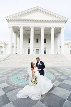 Bride and groom portraits at the Richmond, Virginia Capitol Building before their wedding reception at the John Marshall Ballroom. Photography by Amanda Beside Eric