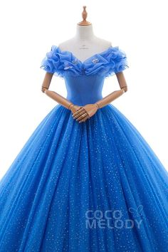 Dreamy Off the shoulder Basque Train Tulle Blue Glow Sleeveless Quinceanera Dress with Appliques LD3454
