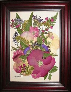 Dried flower picture frame instructions... What about making something like this with winter evergreens?