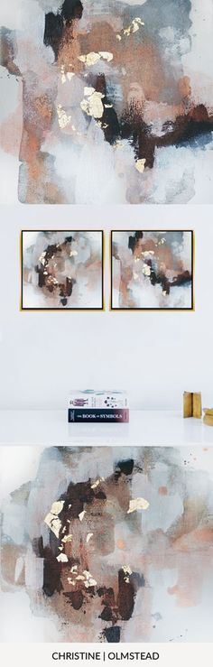 """'Uncertain Future 2', 12""""x12"""" is an original work of art in acrylic and gold leaf on canvas. This painting is perfect to add to a gallery wall or as a diptych. Blacks, grey, white, gold, and peachy copper tones mingle together to create peace. by Christine Olmstead #abstractart #interiordesignideas #minimal #gallerywall"""