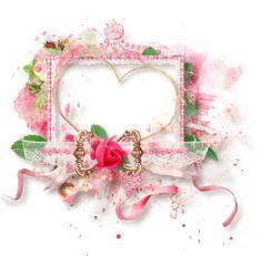 "Photo from album ""Розовые розы"" on Yandex. Scrapbook Borders, Borders And Frames, Decoupage Paper, Wedding Frames, Embellishments, Marie, Floral Wreath, Photoshop, Wreaths"
