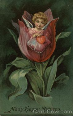 Angel Holding Heart, Sitting in Tulip Fantasy