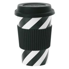 Black Diagonal Stripe Ceramic Travel Mug (42.765 COP) ❤ liked on Polyvore featuring home, kitchen & dining, drinkware, ceramic travel cup, black drinkware, ceramic travel mug and dishwasher safe travel mug