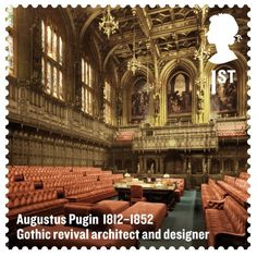 Augustus Pugin - Gothic revival architect and designer (part of the Britons of Distinction collection) Royal Mail Stamps, Uk Stamps, Postage Stamps, Victorian Design, Old Buildings, Stamp Collecting, Countries Of The World, Great Britain, First World