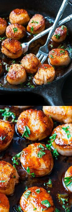 Healthy Recipes These quick and easy Sriracha Glazed Seared Scallops are finished off with a spicy super flavorful homemade Sriracha pan sauce! - Perfectly seared scallops with a spicy Sriracha glaze. Seafood Dinner, Fish And Seafood, Seafood Appetizers, Paleo Appetizers, Healthy Recipes, Cooking Recipes, Delicious Recipes, Healthy Scallop Recipes, Clam Recipes