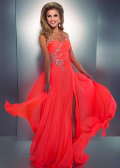 In love with!!! One of our most popular neon dresses this prom season! | Cassandra Stone by Mac Duggal 3213A - Neon Coral Beaded Halter Prom Dress