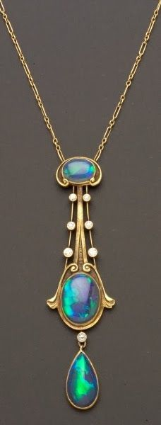 Art nouveau Opal and Diamond Necklace