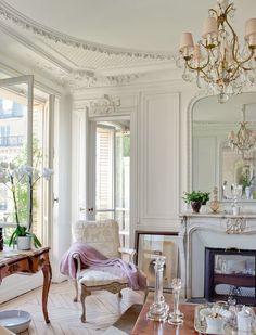 And plaster of paris parisian chic decor, parisian room, shabby chic wall d Parisian Room, Parisian Decor, Parisian Apartment, Paris Apartment Interiors, Paris Home Decor, French Apartment, Apartment Furniture, Apartment Living, Apartment Therapy