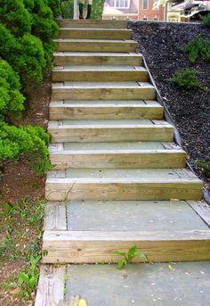 diy outdoor staircase, decks, outdoor living, patio, stairs Outdoor Stairs, Patio Stairs, Outdoor Walkway, Garden Stairs, Outdoor Decor, Paver Walkway, House Deck, Outdoor Gardens, Farm Gardens
