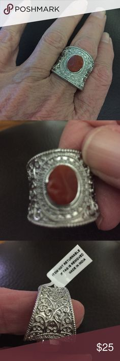 Rough cut Fire Opal ring 2.5 ct rough cut Fire Opal set in cool stainless. Sz 10, chunky wide band Jewelry Rings