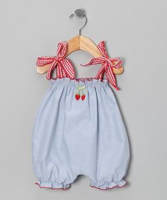Take a look at this Denim Cherry Bubble Romper - Infant by Victoria Kids on #zulily today!