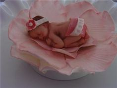 Sleeping Baby Cake Topper | FONDANT EDIBLE PINK BABY & FLOWER CAKE TOPPER BABY SHOWER DECORATION ...
