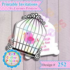 Pink Bird cage baby shower 1st birthday party supplies invitations $15.00 invites decorations first 2nd second 3rd third happy cute shape clipart perfect for centerpieces banners cupcake cake toppers wraps also available matching theme only at www.CuriousPrincess.com