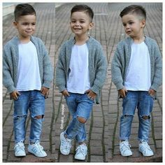Grey cardigan white t shirt ripped denim jeans converse boy fashion summer outfit